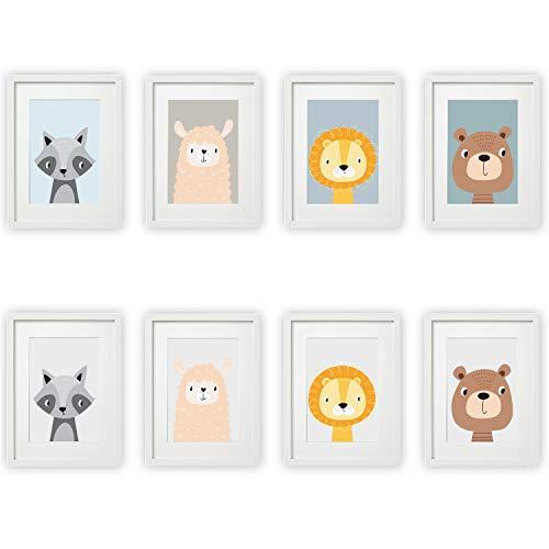 Kinderzimmer Bilder Set Babyzimmer Poster DIN A4 | für Mädchen & Jungen | Baby Tiere | farbig | Babyzimmer | Deko (#9 Waschbär Schaf Löwe Bäre)