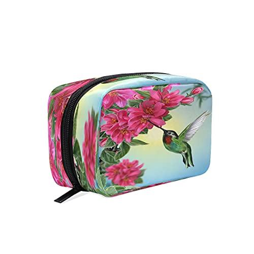 BOLOL - Bolsa de maquillaje para colibrí de animales, bolsa de aseo grande, bolsa de viaje para mujeres y niñas, organizador portátil con flores florales