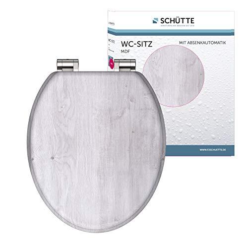 SCHÜTTE 80192 MDF-Holzkern Sitz Light Wood, Toilettensitz mit Absenkautomatik, passend für alle handelsüblichen WC-Becken, Deckel und Brille in Holzoptik