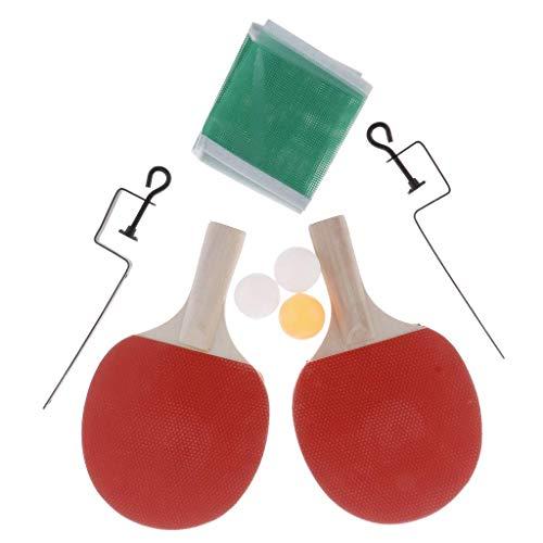 Inzopo Ping Pong Paddle - Juego de 2 raquetas de tenis de mesa, 3 bolas de juego profesionales, bate de goma, juego de raqueta de entrenamiento y recreativa, color 3, 250 x 150 x 5 mm