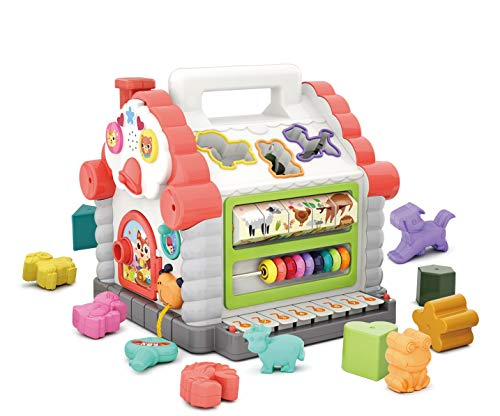 Early Education 1 Year Olds Baby Toy Multifunctional Musical Activity play Centre House with Music/Light/Cubic Block for Children & Kids Boys and Girls