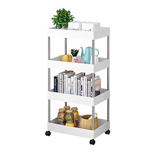 XUSHEN-HU Estante para refrigerador, 4 pisos, suministros de cocina, estante para el hogar, mueble móvil, 89 x 22 x 40 cm, color blanco, cocina