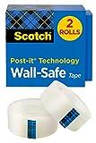Scotch Wall-Safe Tape, 2 Rolls, Sticks...