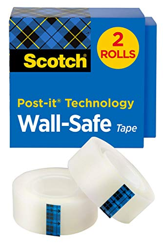 Scotch Wall-Safe Tape, 2 Rolls, Sticks Securely, Removes Cleanly, Invisible, Designed for Displaying, Photo Safe, 3/4 in x 800 in (813S2)