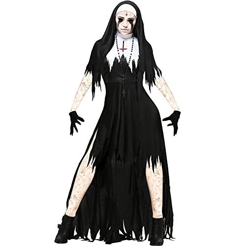 CWAIXXMM Cosplay de Halloween, Ropa mgica para seoras Europeas y Americanas Disfraz de monjas de Halloween Cosplay Cosplay Vampire Demon Traje,XL