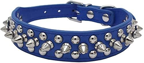 Collar de piel sintética ajustable con remaches de setas y remaches de piel sintética para gatos, cachorros (color: azul oscuro, tamaño: S (cuello de 10.6 a 13 pulgadas)