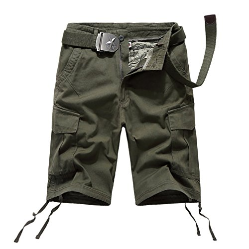 emansmoer Homme été Outdoor Armée Militaire Combat Tactique Shorts Multi-Poche Cargo Coton Confort Pantalon Court (Taille 29, Armée Verte)