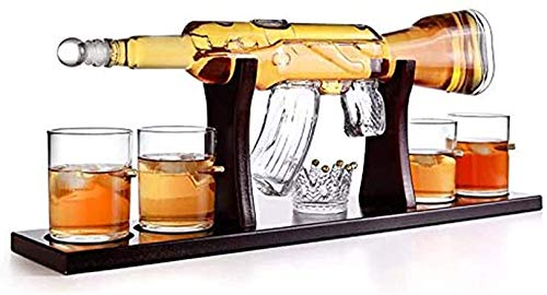 FFLL 800ML Gun Whiskey Decanter Set with 4 Bullet Glasses and Mohogany Wooden Base for Scotch, Tequila, Rum, Bourbon & Other Alcoholic Drinks, Gift Accessories for Men