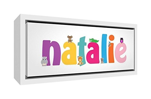 Feel Good Art Toile encadrée avec cadre en bois naturel massif Motif dessin illustratif Motif petite fille 19 x 46 x 3 cm