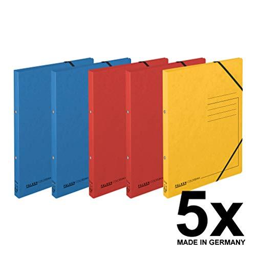 Original Falken 5er Pack Ringhefter mit Gummizug. Made in Germany. Aus extra starkem Colorspan-Karton 2 Ring-Mechanik DIN A4 Füllhöhe 14 mm farbig sortiert Ring-mappe Ringbuch Hefter