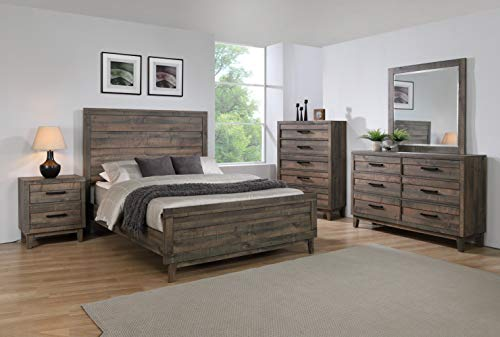 Esofastore Modern Rustic 5pc King Size Bed Dresser Mirror Nightstand Wooden...
