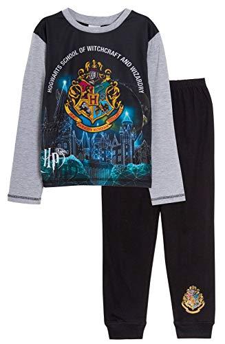 Harry Potter Schlafanzug für Kinder, Jungen, Mädchen, Unisex, Hogwarts, lange Nachtwäsche Gr. 146, Schwarz