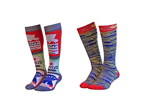 2 Pack Youth Snowboard Ski Socks for Snowboarding or Skiing Junior Boys Girls Kids Weekend Knee-High Thin Performance Lite (Cool Beer Design, L/XL)