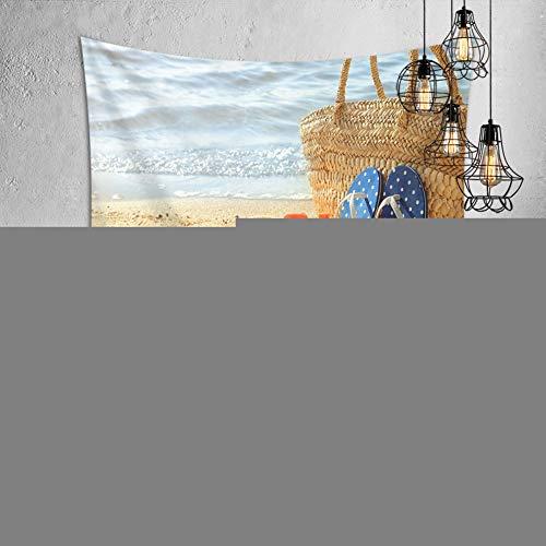 Wandteppich Hochwertige Strand Muschel Hausschuhe Wandbehang Wandtuch Bettdecke Strandtuch Tagesdecke Boho-Stil Deko Tapisserie Bed Sheet Tapestry Wall Hanging Comforter Picnic Gobelin A2475-150x200cm