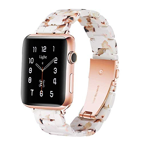 Light Apple Watch Band - Fashion Resin iWatch Band Bracelet Compatible with Stainless Steel Buckle for Apple Watch Series 6 Series SE Series 5 Series 4 Series 3 Series 2 1 (Nougat White, 38mm/40mm)