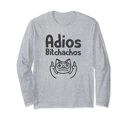 Adios Bitchachos Tshirt Cinco De Mayo Cat Middle Finger Langarmshirt