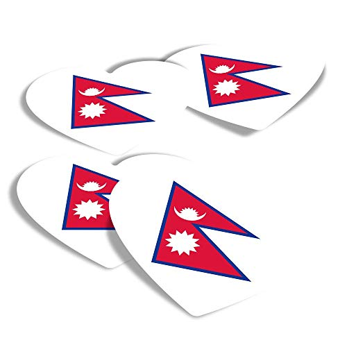 Vinyl Heart Stickers (Set of 4) - East Asia Kathmandu Flag Nepal Fun Decals for Laptops,Tablets,Luggage,Scrap Booking,Fridges #9163