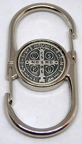 GTBITALY 50.054.10 SMED mosquetón doble llavero con medalla de San Benito Plata