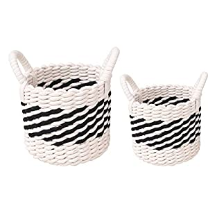 Woven Basket with Handles Set of 2 – Storage Cotton Rope Baskets, Small Baby White Organizer Bin for Nursery Laundry Kid's Toy