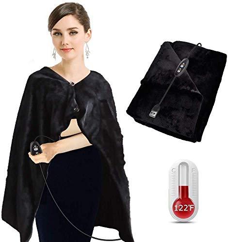 Aotoer - Mantón calefactor USB, manta de calentamiento rápido, manta de felpa con 3 niveles de calefacción y 3 ajustes de temporizador, lavable a máquina, 100 x 65 cm ⭐