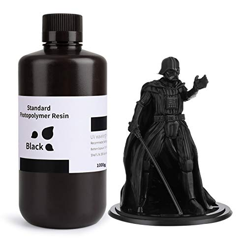 ELEGOO 3D Rapid Resin LCD UV-Curing Resin 405nm Standard Photopolymer Resin for LCD 3D Printing Pure Black1000g