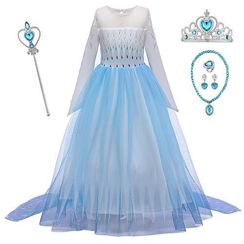 O.AMBW Vestido de Princesa con Capa Larga Falda Azul Violeta Disfraz de Frozen Cosplay de Princesa Disfraces de Carnaval con 5 Juegos de Accesorios Fiesta Halloween para Nias de 2 a 12 aos