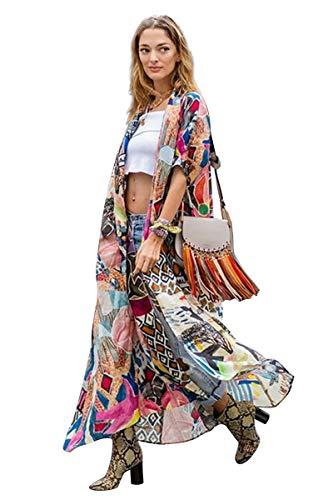 Cardigan Lungo Donna Estivo Boho Chic Kimono da Spiaggia Vestito Stampa Fiori Tropicale Coprispalle Etnico Copricostumi e Parei Costume da Bagno Mare Kaftano Africano Bikini Cover Up CKSDN0368CS