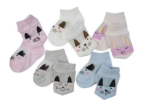 SYEEGCS Lot de 5 paires de chaussettes mignonnes en coton respirant transparent en laine de verre pour petite fille XS