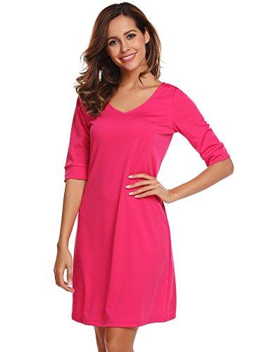 ACEVOG Damen Casual A-Linie Kleid V-Ausschnitt Halbarm Freizeitkleid Skaterkleid mit Back Cross