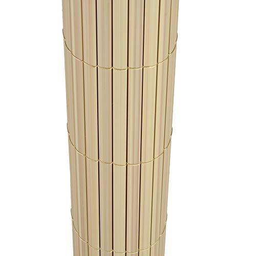 TOP MULTI PVC Sichtschutz-Matte für Balkon/Garten 1,2m x 4m natural-bamboo beige | Sichtschutz-Zaun inkl. Befestigung + wetterfest | Windschutz-Matte | Blende | Blickschutz-Zaun | Balkon-Verkleidung