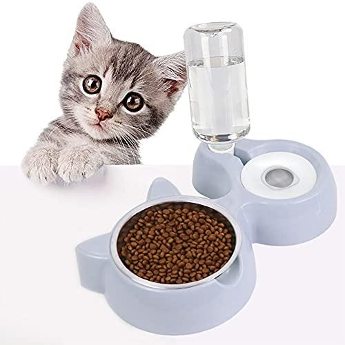 Ciotola per Gatti,2 in 1 Distributori Automatici di Cibo & Acqua per Gatti e Cani,Distributore Acqua Pet Feeder Automatico,Ciotole per Gatti Animali con Borracce,Ciotole per Cani Gatti (Grigio)