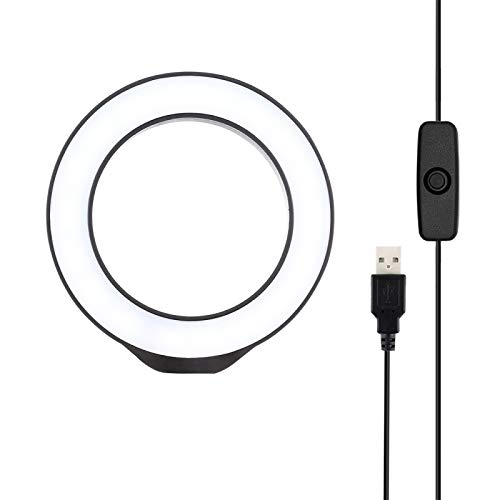 Fengyuechen Live lights, 4.7 inch 12cm USB White Light LED Ring Vlogging Photography Video Lights, for YouTube Video and Makeup (Color : Pink)