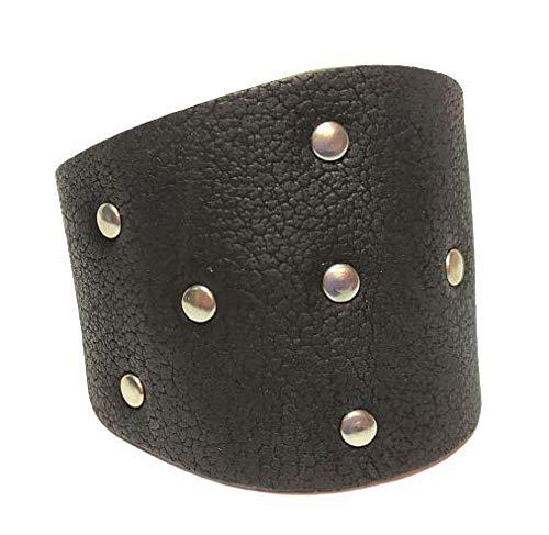 Pulsera de piel moters . Piel y metal, alta o baja perfil. Con remaches para un estilo más decidido o sin para un aspecto más limpio. nero alto