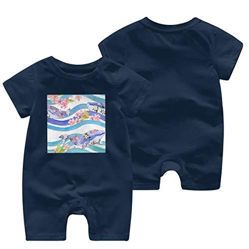 JOJOshop Walvissen met bloemen in golven strepen Baby Jumpsuit korte mouw zomer Romper