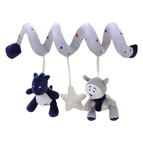 ANJUNIE Spiral Hanging Toys for Crib Mobile, willway Infant Baby Plush Toys for Bed Stroller Car Seat Bar (Gray 1, Freesize)
