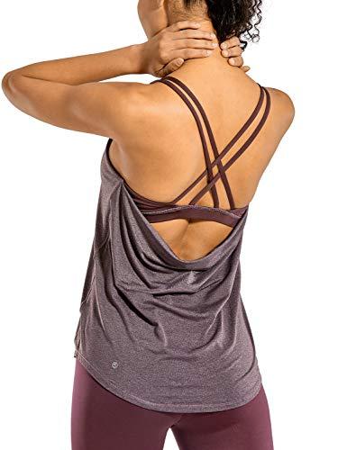 CRZ YOGA Mujer Deportiva Chaleco Camiseta sin Mangas de Fitness con Sujetador Ciruela ártica calentada 40
