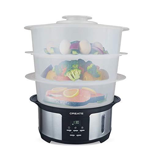 IKOHS Create Pot Steam - Vaporera Eléctrica 1.4L, Cocina hasta 3 Platos a la Vez, 5 Menús Preestablecidos y Modo Manual, Libre de BPA, Fácil de Usar y Limpiar, Cocina al Vapor, Programable