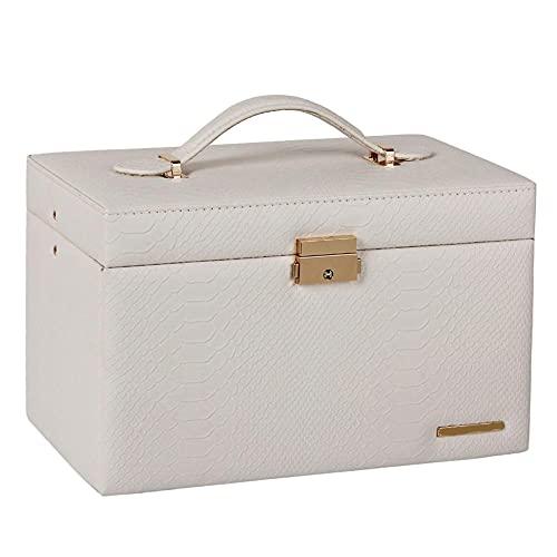 ASDMRQ Joyero, caja de almacenamiento de joyería de gran capacidad, caja de almacenamiento de tres capas, collar, anillo, pendiente, caja de almacenamiento de joyas para llevar