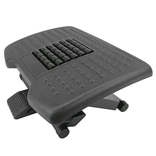 PrimeMatik - Reposapiés con Plataforma Ajustable de plástico Negro 455 x 330 mm 3 Niveles