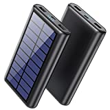 Pxwaxpy Solar Charger Power Bank, 33800mAh Portable Charger with LED and 2 USB Outputs External Battery Pack for Camping Outdoor Compatible with iPhone, Samsung Android Phone,Tablet,iPad, Airpods etc.