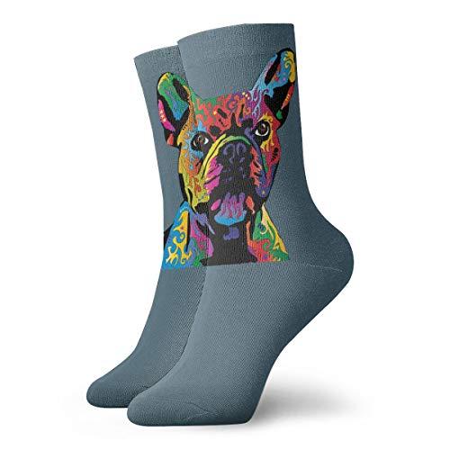 Rainbow French Bulldog Socks Men's Women's Athletic Soccer Dress Socks Gifts Crew Socks