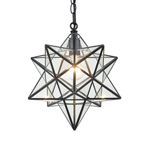 16'' Large Moravian Star Pendant Light Clear Glass Hanging...