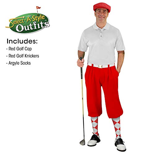 Golf Knickers Mens Select A Style Outfit - Matching Golf Cap - Red - Waist 34 - Sock - Red/White