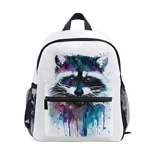 DOSHINE Kinder Kleinkind Rucksack Aquarell Art Tier Waschbär Vorschulbuch Tasche für Kinder Jungen Mädchen