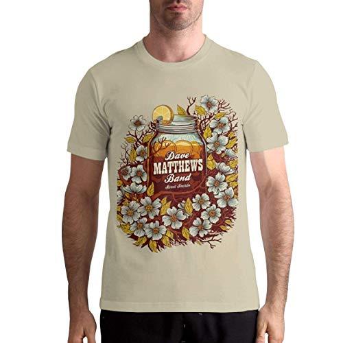 Herren Dave Matthews Band Generisches T-Shirt Kurzarmhemd Rundhals-Baumwoll-T-Shirts Natural X-Large