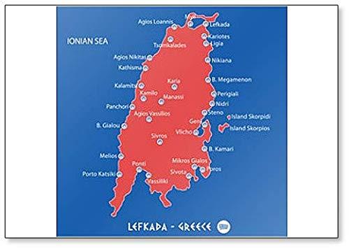 Eiland Lefkada in Griekenland Rode Kaart Illustratie Koelkast Magneet