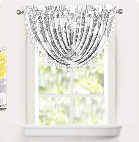 DriftAway Samantha Waterfall Damask Medallion Lined Thermal Insulated Energy Saving Rod Pocket Window Curtain Swag Valance 52 Inch by 18 Inch Plus 2 Inch Header Gray