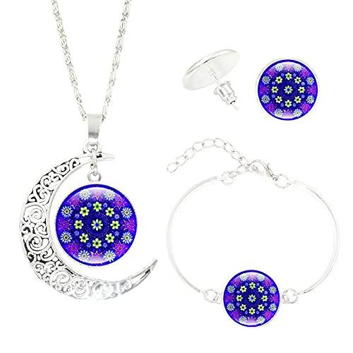 Mandala Flor Collar Pulsera Pendientes Conjuntos De Joyas Gema Luna Colgante Joyas De Yoga