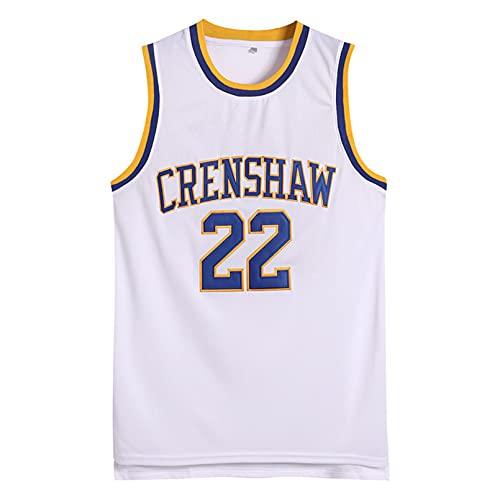 Maillot De Basket #22 Crenshaw High School Basketball pour Homme Et Femme, Gilet De Sport Chemise sans Manches (Blanc) M
