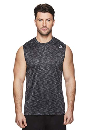 Reebok Men's Muscle Tank Top - Sleeveless Workout & Training Activewear Gym Shirt - Push Press Black, Small